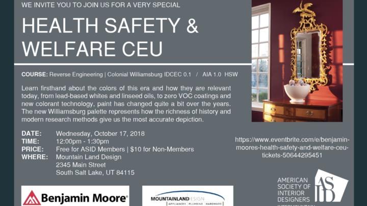 Benjamin Moores Health Safety And Welfare Ceu Salt Lake City Ut